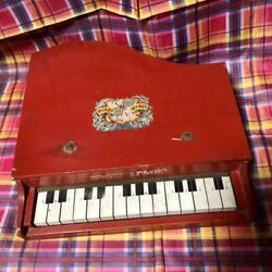 Vintage Miniature Wooden Piano Toy Antique Keyboard Red Retro From Japan