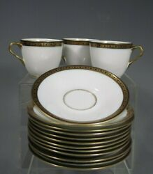 Royal Adderly Bone China 3 Tea Cup And 12 Saucer England Blue Floral Gold Trim