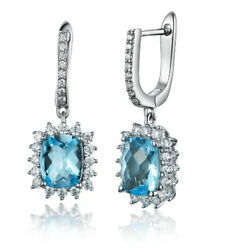 1.30ct Natural Diamond 14k Solid White Gold Topaz Hoops Snap Closure Earring