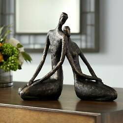 Loving Couple 11 1 2quot; Wide Bronze Sculpture