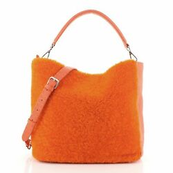 Fendi Selleria Anna Bucket Bag Leather and Shearling Small $652.00