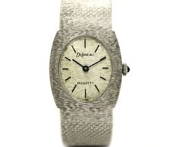 Delaneau Roditi 57gms 18k White Solid Gold Womenand039s Lady Authentic Vintage Watch