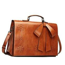 CLUCI Briefcase for Women Oil Wax Leather 14 Inch Laptop Large Ladies Vintage Bu