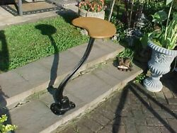 Vintage Cast Iron And Wood Folding Chair / Stool - Nyse