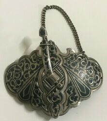 Antique Russian Silver Niello Belt Buckle With A Kindjal Clasp Very Good Cond.