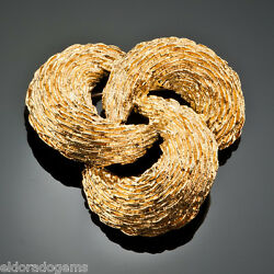 And Co. Brooch Pin - Three Ovelapping Textured Sections 18k Yellow Gold