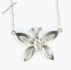 18k White Gold Round Diamond Butterfly Pendant 0.12 Ctg Colorsi2 Clarity