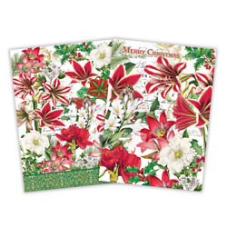 Set Of 2 Merry Christmas Flowers Holly Kitchen Towels By Michel Design Works