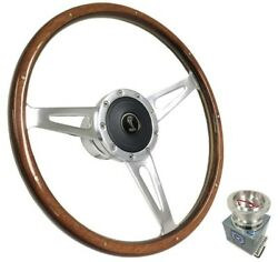 15 Polished Walnut Wood Steering Wheel W/ Horn For 1968-1970 Shelby Mustang