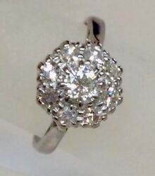 Antique Deco Old Euro Diamond Cluster Engagement Ring Solid 18k Wg Circa 1920s
