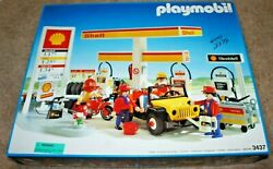 Super Rare Vintage Playmobil3437 Shell Gas Station Service New In Open Box