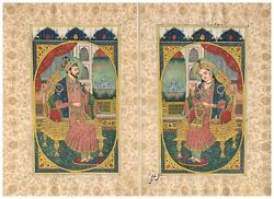 Hand Painted Miniature Portrait Of Mughal King And Queen Painting On Paper Art