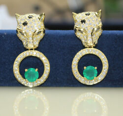 Christmas 2.01ct Natural Diamond 14k Solid Yellow Gold Emerald Stud Earring
