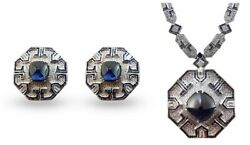Blue Sugarloaf Art Deco Style 925 Sterling Silver Solid Necklace And Earrings