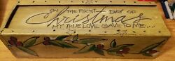 Christmas Box On The First Day Of Christmas Stars And Berries 16x5 23942 712