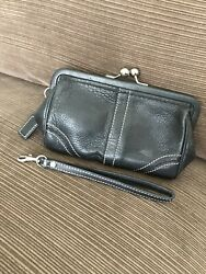 Coach Soho Kiss Lock Wristlet Clutch — Black Leather With White Stitching $45.00