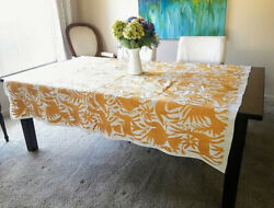 Tablecloth In Yellow Color Hand Embroidered Mexican Textile Otomi Fabric