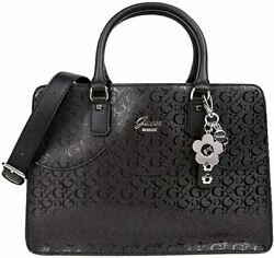 NEW GUESS Women#x27;s Adobe Glossy Shine Black Satchel Handbag Purse Crossbody $89.99