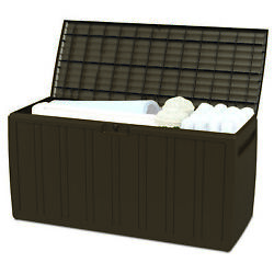 Ram Quality Products Storage Deck Patio Furniture, 71 Gallon, Brown Open Box