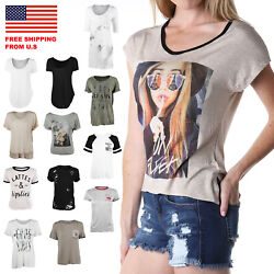 Zimego Womenand039s Short Sleeve Soft Scoop Crew V Neck Graphic Character Casual Tee