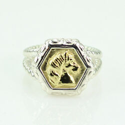 Slane And Slane 18k Yellow Gold And Sterling Silver Epona Horse Ring Size 5