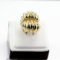 Exquisite Large Art Deco Handmade Cocktail Ring Solid 18k Yellow Gold Us5.5