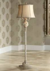 Traditional Floor Lamp with Nightlight LED Olde Silver for Living Room Reading