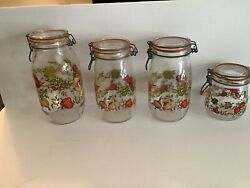 Spice Of Life Glass Canisters Vintagejars Set Of 4 W/ Metal Bale Lid Arc France