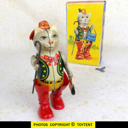 Mechanical Puss In Boots Tin Toy In Original Box Kohler Gnk Germany - See Movie