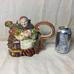 Fitz Floyd Teapot Fortune Teller 1995 Limited Edition Crystal Ball Cat Old Woman