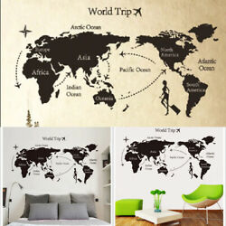 World Map Wall Stickers Kids Removable Rooms Art Decals Mural Home Office Decor