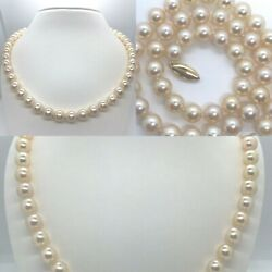 8.5 Mm X 8.9 Mm Golden Peach Saltwater Akoya Pearl Strand 14k Gold 18 Necklace