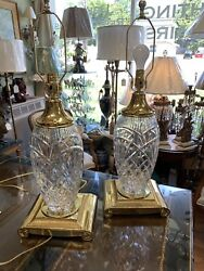 Attractive Pair Of Waterford Cristal And Brass Table Lamps