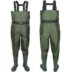 Nylon Pvc Fishing Chest Waders Breathable Waterproof W/ Wading Boots Army Green