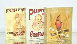 Vintage Cereal Boxes Corn Flakes Shredded Wheat Country Kitchen Home Decor