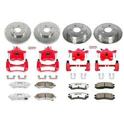 Kc1544-26 Powerstop 4-wheel Set Brake Disc And Caliper Kits Front And Rear