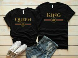 King Queen Couples T-Shirts Cute Dating Gucci Matching Boyfriend Gift Valentine  $14.49