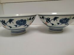 Vintage Japanese Rice Bowls Blue And White Hand Painted Porcelain Set Of 2 Footed
