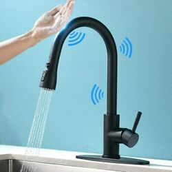 Sensor Touch Kitchen Sink Faucet Pull Down Sprayer Swivel Matte Black With Cover