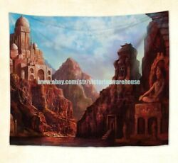 Fantasy city wall hanging tapestry vintage home decor
