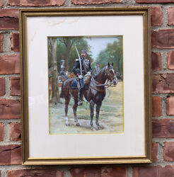 French Artist Alphonse Lalauze W/c Of French Military Officer. Signed Circa 1904