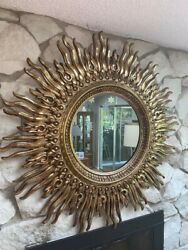 48 Inch Midcentury Sunburst Mirror Very Good Condition.buyer Pays All Shipping.