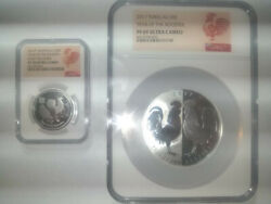2 Graded Year Of The Rooster Silver Coins-1oz Tokelau And 1/2oz Pf70 Australian