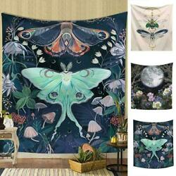 Floral Moon Black Tapestry Wall Hanging Tapestries Witchcraft Butterfuly Z9J8