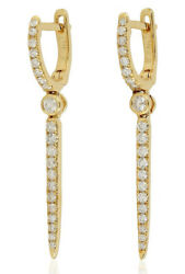 1.30ct Natural Round Diamond 14k Solid Yellow Gold Hoops Snap Closure Earring