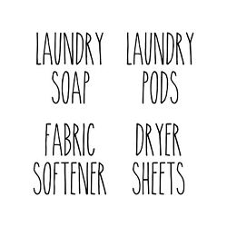4 Laundry Room Labels Vinyl Stickers - Pods Soap Dryer Sheets Fabric - Rae Dunn
