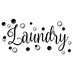 Laundry With Bubbles Vinyl Decal Sticker - Laundry Room Sign Soap Washer Dryer