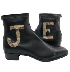 New Authentic Black Leather And Lizard Elton John Zip-up Boots 11.5 Us 990h
