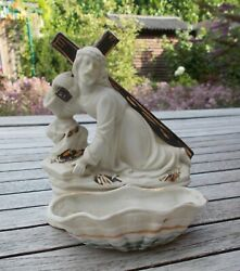 Jesus Carrying The Cross Antique 19th Century German Holy Water Font Figurine