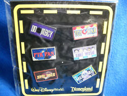 Dlr / Wdw - Mini-pin Collection Attraction Vehicle License Plate Frame 6 Pin Set